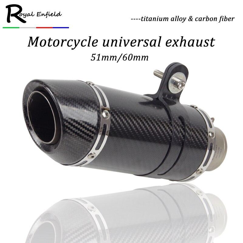 51 мм/61 мм Впускной Универсальный мотоцикл выхлопной трубы Slip on Настоящее углеродного волокна Титан сплава для HONDA r1 R3 R6 FZ6 ATV Байк