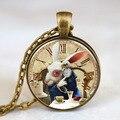 Nos película alice in wonderland rabbet reloj tiempo nuevo encanto steampunk collar de doctor who 1 unids/lote mens de las mujeres de la vendimia cadena
