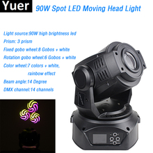 New Design 90W LED Moving Head Spot Stage Lighting gobo 7 colors 3 Face Prism 14 DMX channels For Dj Disco KTV