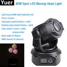 цены New Design 90W LED Moving Head Spot Stage Lighting gobo 7 colors 3 Face Prism 14 DMX channels For Dj Disco KTV Stage Lighting