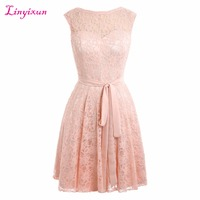 Linyixun Real Photo 2017 New Arrival A Line Homecoming Dresses With Belt Scoop Beautiful Lace Short Party Dresses For Graduation