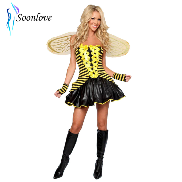 Sexy Adult Bumble Bee Costume Dress Women Halloween Costume Halloween Carnival Party Buzzing Bee Costume For  sc 1 st  AliExpress.com & Sexy Adult Bumble Bee Costume Dress Women Halloween Costume ...