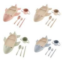 Cute Baby Dinnerware Set Food Dishes Chopsticks Soup Cup Spoon Fork Feeding Bowl Plates Tableware for Children Kids Toddler