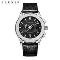 41 мм часы Parnis для мужчин кварцевые для мужчин sWatches лучший бренд класса люкс Военная Униформа пилот кварцевые часы пояса из натуральной кож