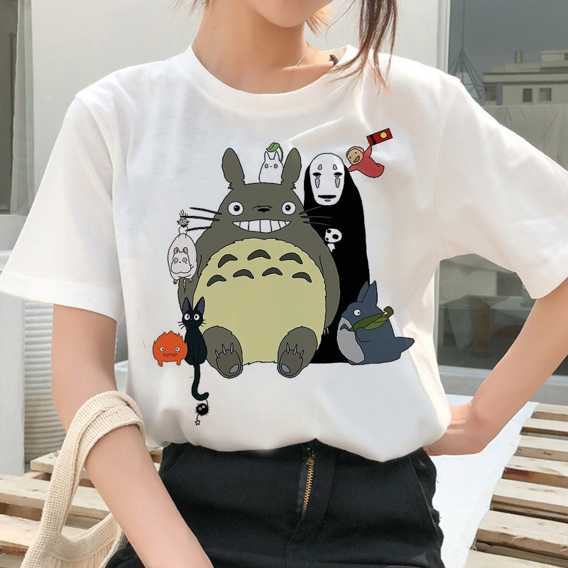totoro Spirit Away   t     shirt   Studio Ghibli femme Japanese cartoon Anime women tshirt   t  -  shirt   Miyazaki Hayao clothes female kawaii