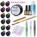 Elite99 Color-changing Any 5 Colors Gel Polish Top Base Coat Brush Pen Manicure Chameleon Luminous Gel Remover Pad Manicure