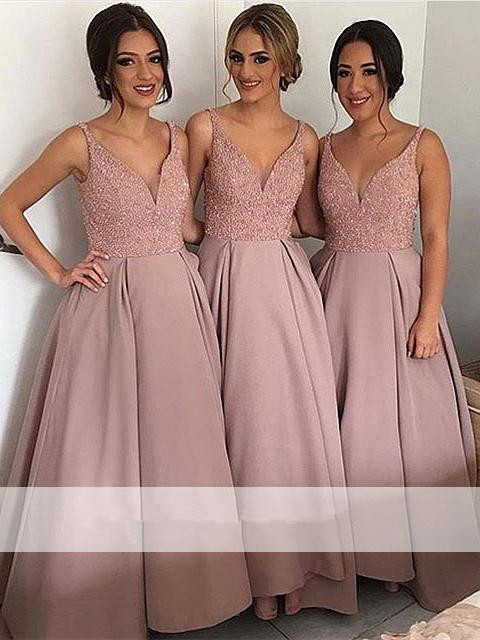 Elegant 2019 Cheap   Bridesmaid     Dresses   Under 50 A-line V-neck Satin Beaded Long Wedding Party   Dresses   For Women