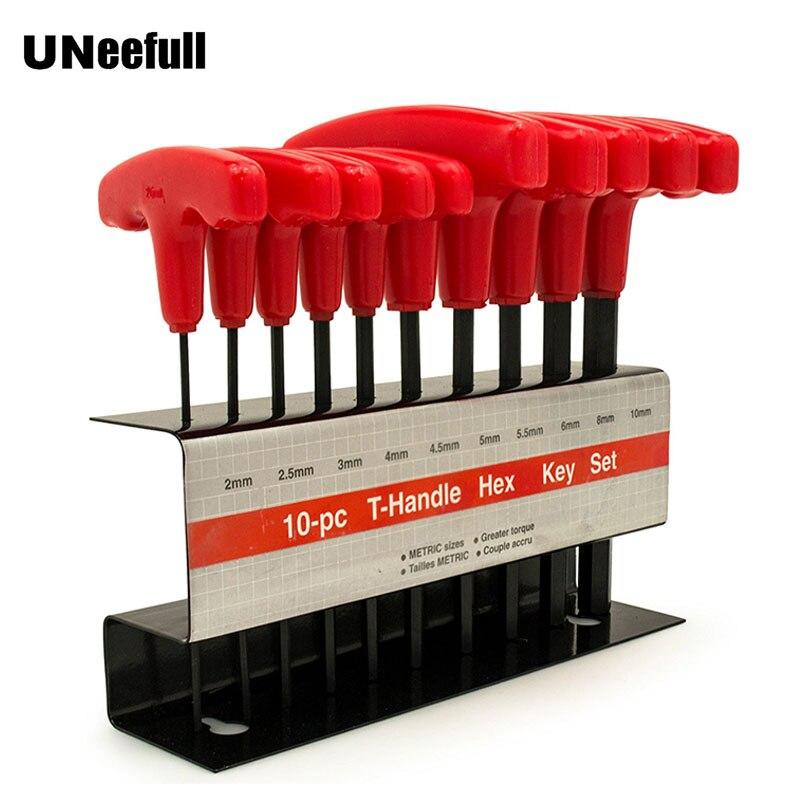 UNeefull 10 pc Métrique T-Poignée Hex Clé Allen Clé Tool Set, Allen Clé Non-glissement Multifonctionnel clés Outils À Main