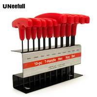 UNeefull 10pc Metric T Handle Hex Key Allen Wrench Tool Set,Allen Wrench Non slip Multifunctional Wrenches Hand Tools