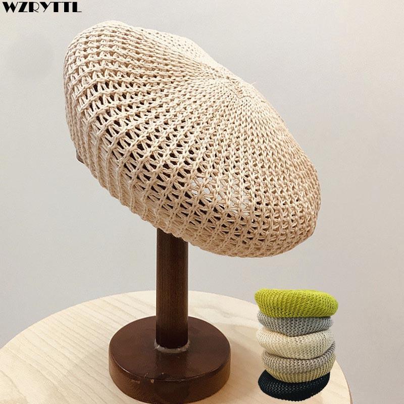 Women Knitted Beret Summer Cap Chic Parisian Style Soft Lightweight Crochet Cutout Knit Beret Breathable Cotton Line Beanie Hat
