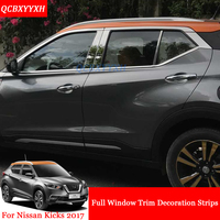 QCBXYYXH Car Styling Stainless Steel Full Window Trim Decoration Strips Auto Stickers Accessories For Nissan Kicks