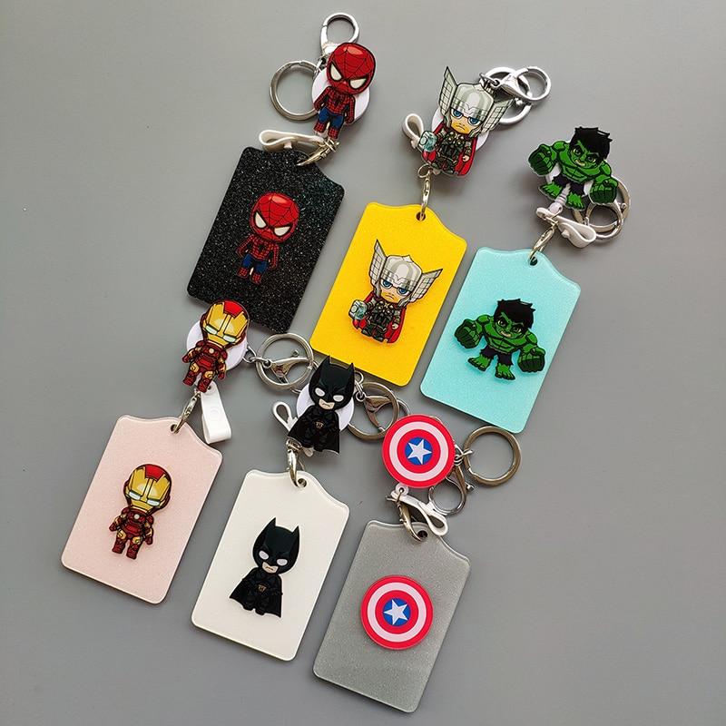 MARVEL New ABS Cartoon Superhero Name Credit Card Holders Bank Card Retractable Id Card Bus ID Holders Identity Badge Keychain