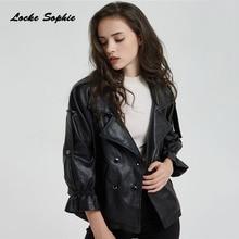 Womens Plus size short jacket blazers 2019 Autumn PU leather faux fur Double-breasted Jacket ladies Skinny locomotive