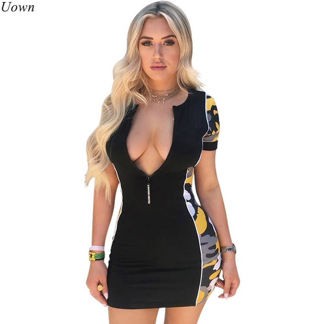 cad8a4101c7 Sexy Front Zipper Black Bodycon Mini Dress Camouflage Women V-Neck Casual  Short Sleeve Celebrity Club Party Dress Vestidos
