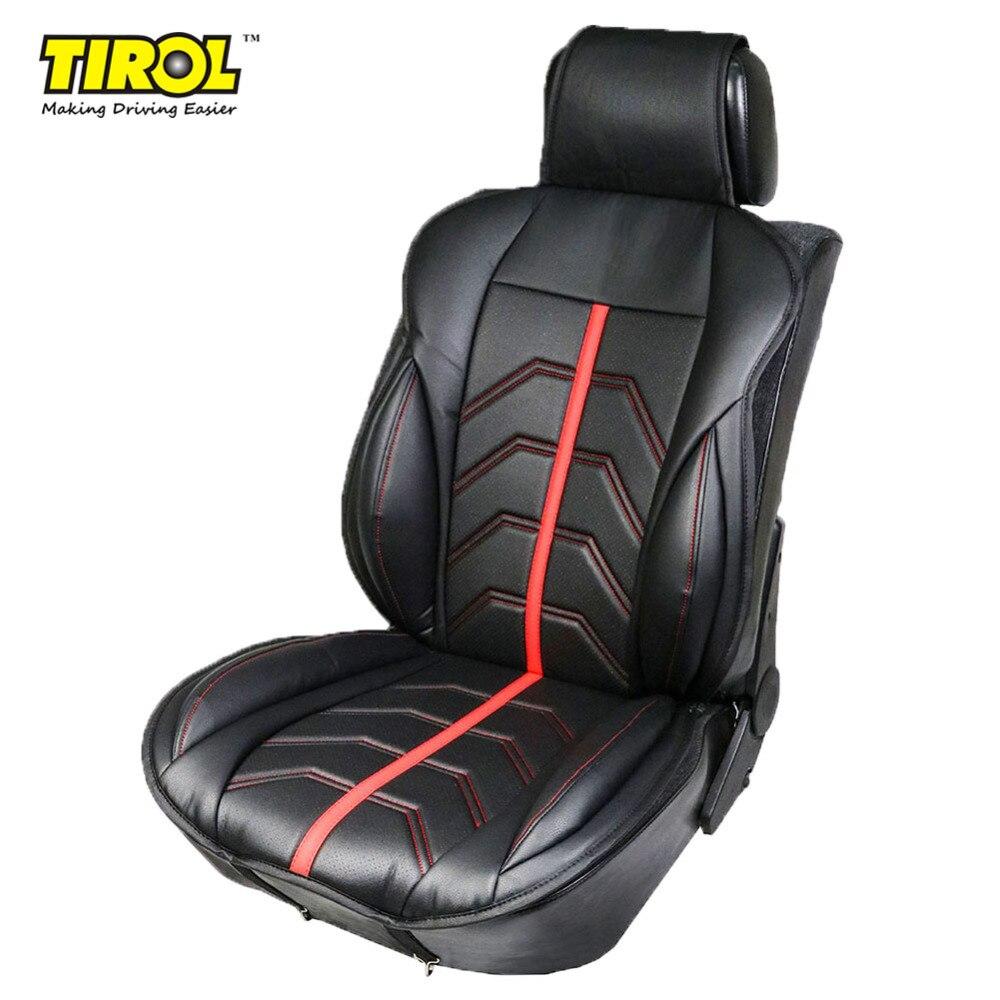 TIROL искусственная кожа Universal спереди одного автомобиля Чехлы для сидений мотоциклов сиденье Подушки черный, красный для внедорожник седано...