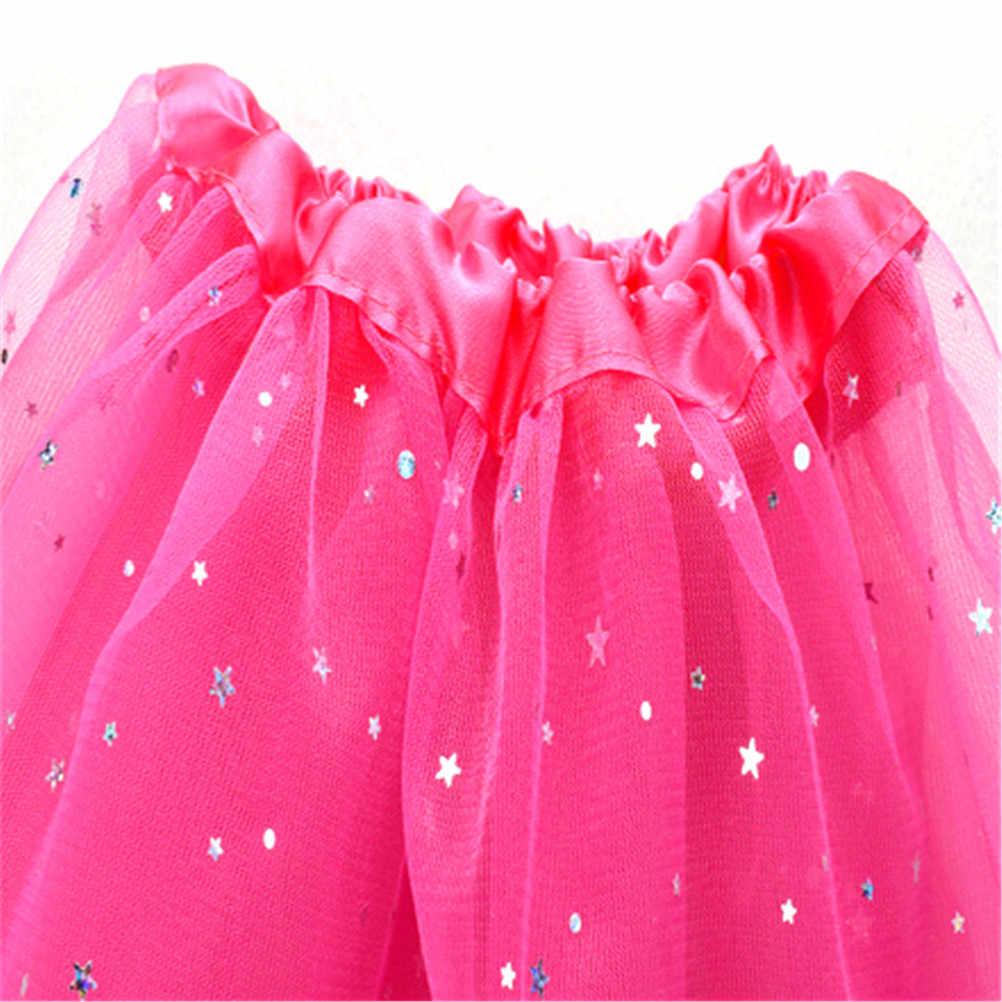 3aea635cd Verano estrella brillo danza tutú falda para chica lentejuelas tul niño  encaje Pettiskirt niños bebé niños chifón 6 colores