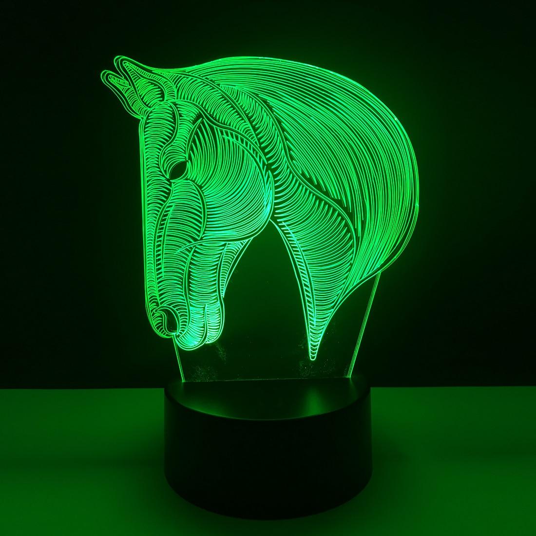 7 Colors Changing Animal LED Night light Horse 3D Desk Table Lamp USB Luces Navidad Lampara Kid Sleeping Novelty Nightlight