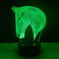 7 colores cambiantes Animal LED luz de noche caballo 3D escritorio lámpara de mesa Luces USB Navidad Lampara chico dormir novedad luz nocturna