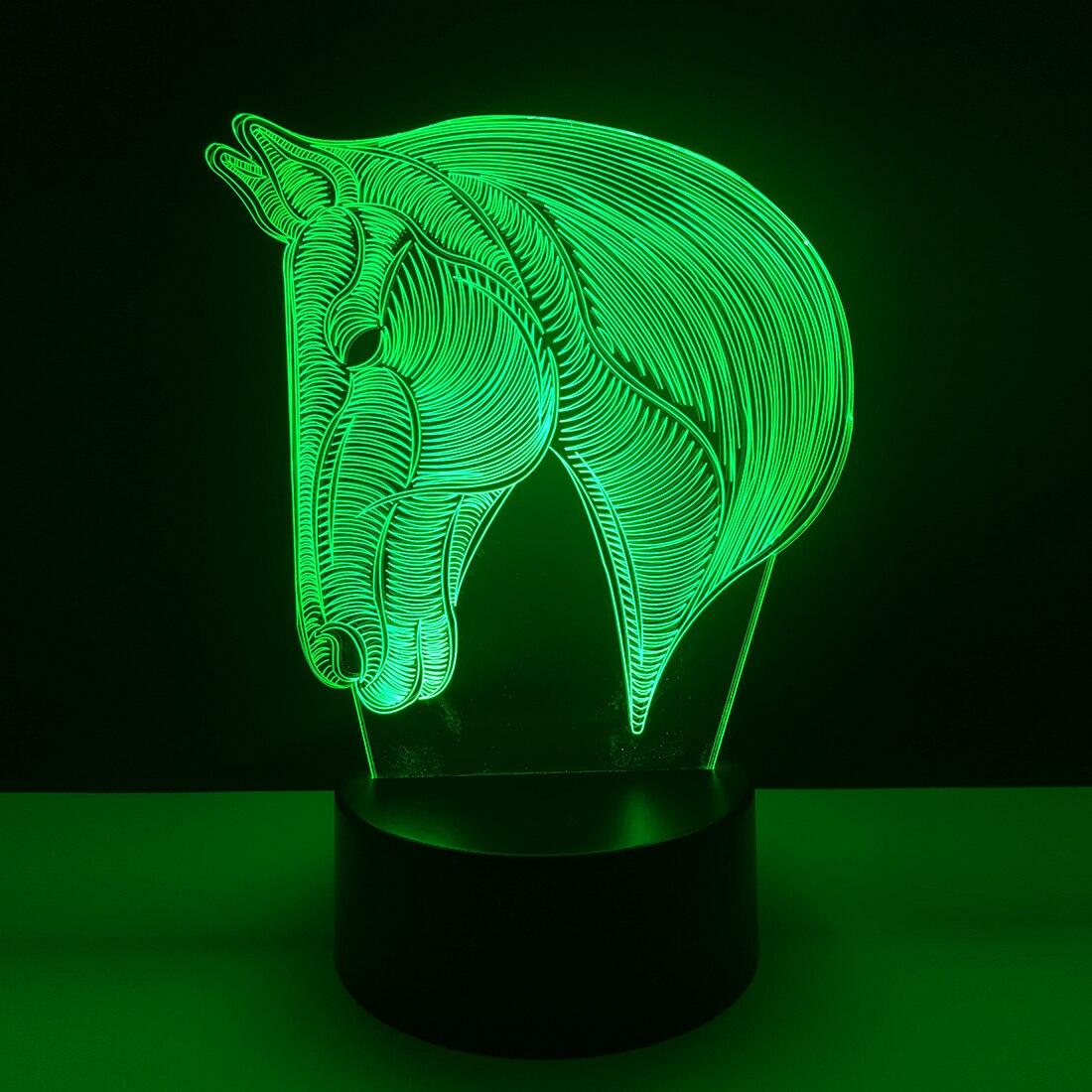 7 cores Mudando Animais Mesa USB Lâmpada de Mesa luz CONDUZIDA Da Noite Cavalo 3D Lampara Luces Navidad Miúdo Dormir Novidade Nightlight