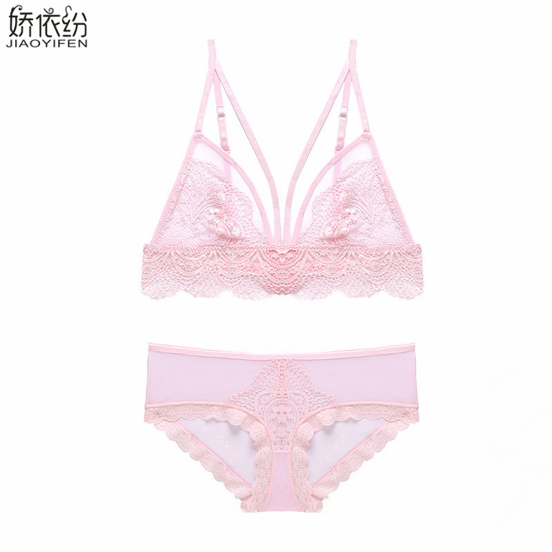 Women   Bra     Set   Sexy Lace Comfortable Summer Hollow Underwear Embroidery Solid Color Ultra-thin Lingerie Push Up   Bra     Brief     Sets