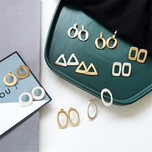 Geometric circular triangle basis Exquisite fashion deserve to act the role of women Ladies earrings jewelry wholesale