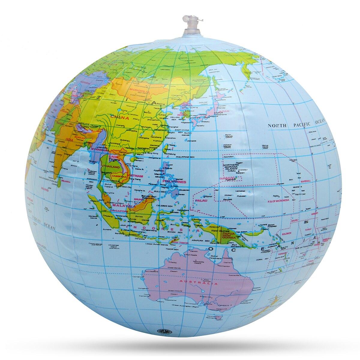 Nuevo globo inflable de 30cm mundo Tierra océano mapa Bola de aprendizaje balón educativo niños juguete hogar Oficina Decoración
