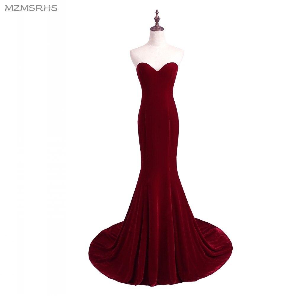 Unique Designer Burgundy Mermaid Prom Dresses 2015 Women Long Train Flattered Fitted Red Wine Velvet Elegant