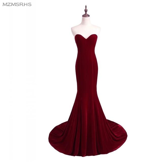 Unique Designer Burgundy Mermaid Prom Dresses 2017 women Long Train  Flattered Fitted Red Wine Velvet Elegant Party Gowns A95 0e1afd640