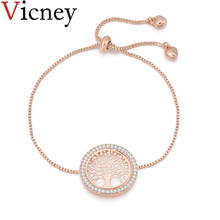 Vicney Tree Of Life Charm Bracelet high quality Czech Crystal Zircon Adjustable Bracelet Jewelry For Women Girl friend/Wife Gift(China)