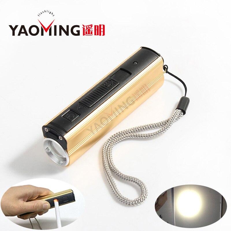 CREE Q5 2000LM USB LED lampe de poche 3 modes étanche rechargeable lampe avec cigarette électronique plus léger puissance banque torche