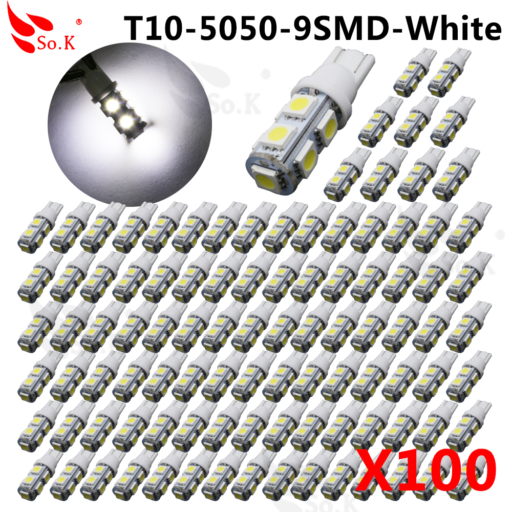 Hot selling 50x T10 194 168 W5W 9 LED 5050 SMD Car Auto Side Wedge Light Lamp Bulb Xenon White DC 12V NEW Car LED Light Bulb