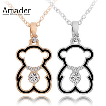 Amader Fashion Crystal Necklace Lovely Gold Color Hollow Bear Pendants Necklaces Cute Cartoon Animal Jewelry Women Child Gift