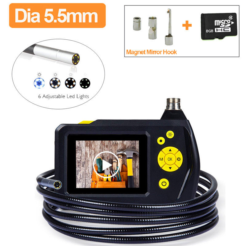 Free shipping!8GB NTS100 Endoscope 5.5mm Borescope Snake Inspection Camera+Hook/Mirror/Magnet eyoyo nts100 dia 8 2mm 2 7 lcd nts100 endoscope borescope snake inspection 1m tube camera dvr