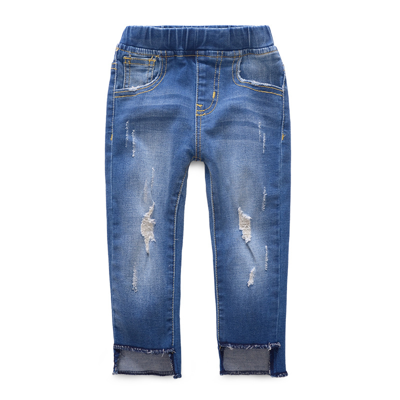 fall new girls' high-elasticity jeans, denim jeans kids girl pants sz 2-8 years wholesale colorful brand large size jeans xl 5xl 2017 spring and summer new hole jeans nine pants high waist was thin slim pants