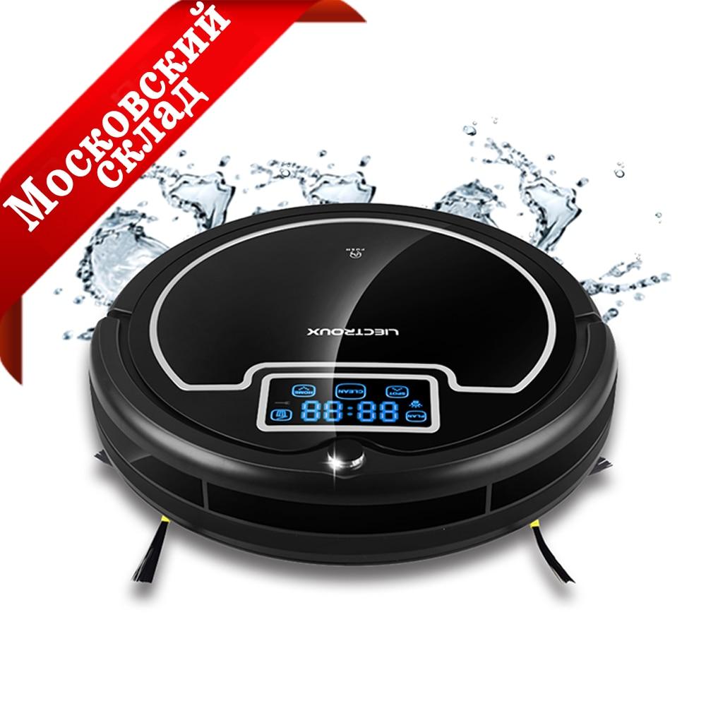 (Moscou Entrepôt) Sans Fil Auto Robot Aspirateur Pour La Maison avec Réservoir D'eau, Humide et Sec, grande Vadrouille, Calendrier, lampe UV, HEPA filtres
