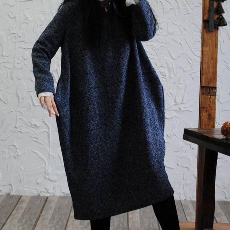2018 Spring Winter Warm Woolen Dresses For Women Long Sleeve Casual Dress Loose Pocket Split Cocoon