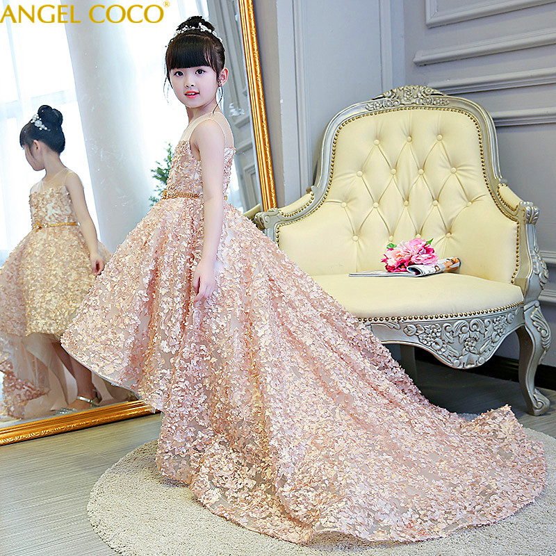 Champagne ChildrenS Evening Dress Princess Dress Tailing Beauty Contest Stage Costumes Birthday Host Flower Girl Wedding Party