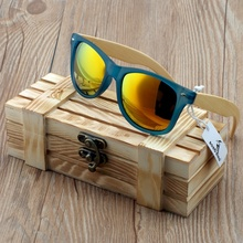 BOBO VOGEL Transparant Blauw Vierkante Zonnebril Vrouwen Bamboe Hout zonnebril Mirrored Gepolariseerde Zomer Stijl in WoodBox BS05