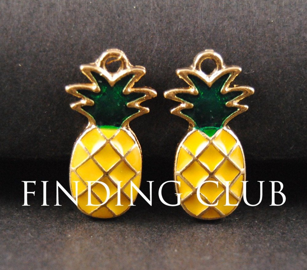 10 pcs Gold Tone Lovely Enamel Pineapple Charm DIY Metal Bracelet Necklace Jewelry Findings B02