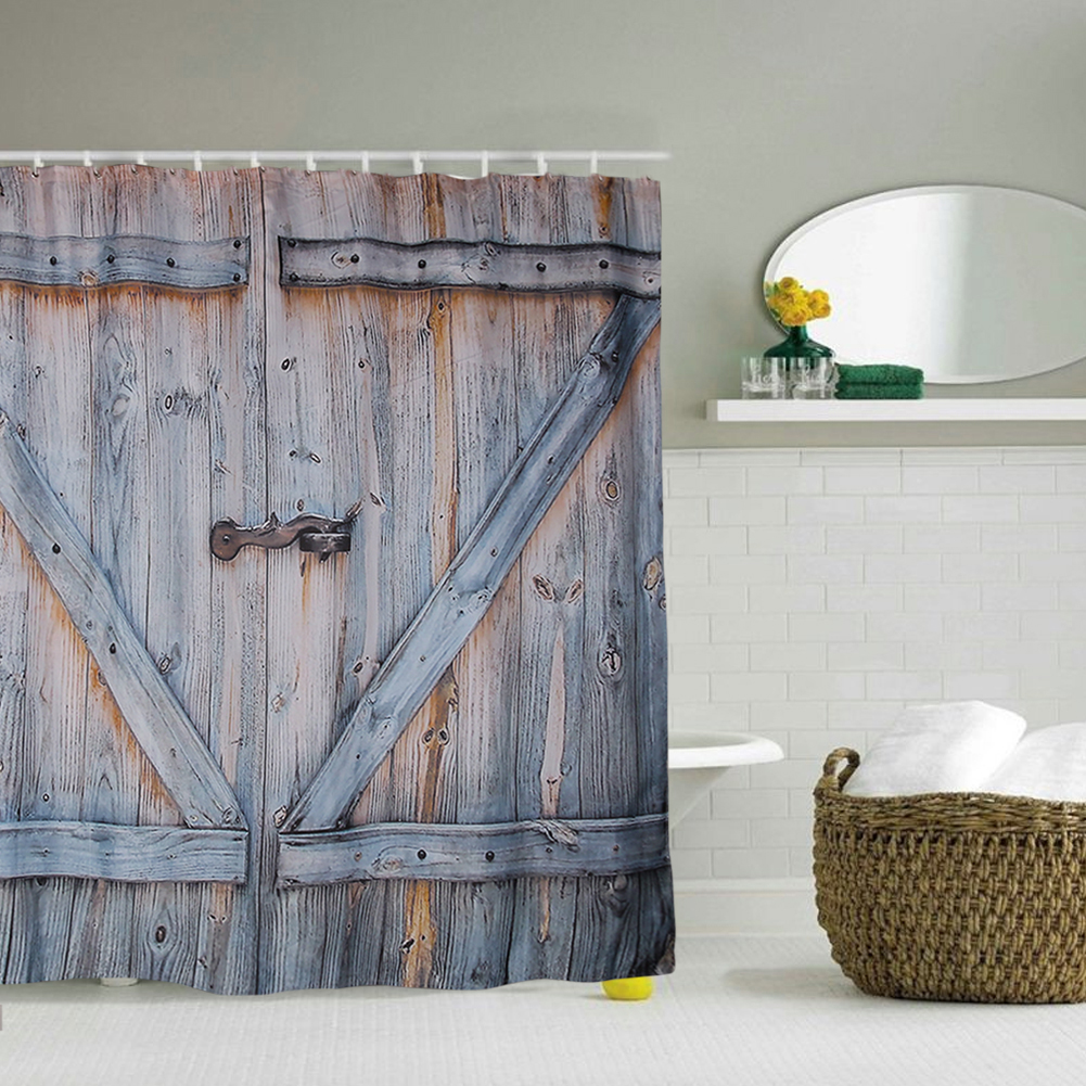 new style wooden door shower curtain waterproofpolyester backgrounds rustic bathroom for mobile phones high resolution