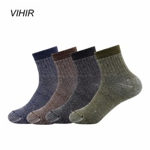 Vihir Mixed Color Merino Wool  Winter Ankle Outdoor Sports Socks for Skiing Hiking Cycling Camping socks men outdoor sportswear winter socks thick towel bottom skiing socks protect ankle hiking walking athletic keep warm sports socks
