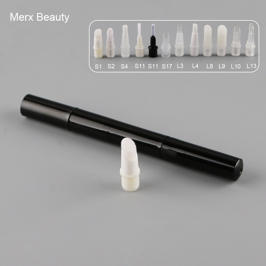 50PCS 3ML Black Empty Cosmetic Pen With Different Applicators Plastic Round Lip Gloss Tube Portable Twist