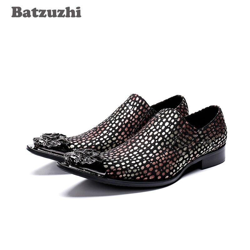 Batzuzhi Italy Type Men Dress Shoes Pointed Toe Luxury Leather Dress Shoes Men Multi Color Party Wedding Shoes zapatos de hombre