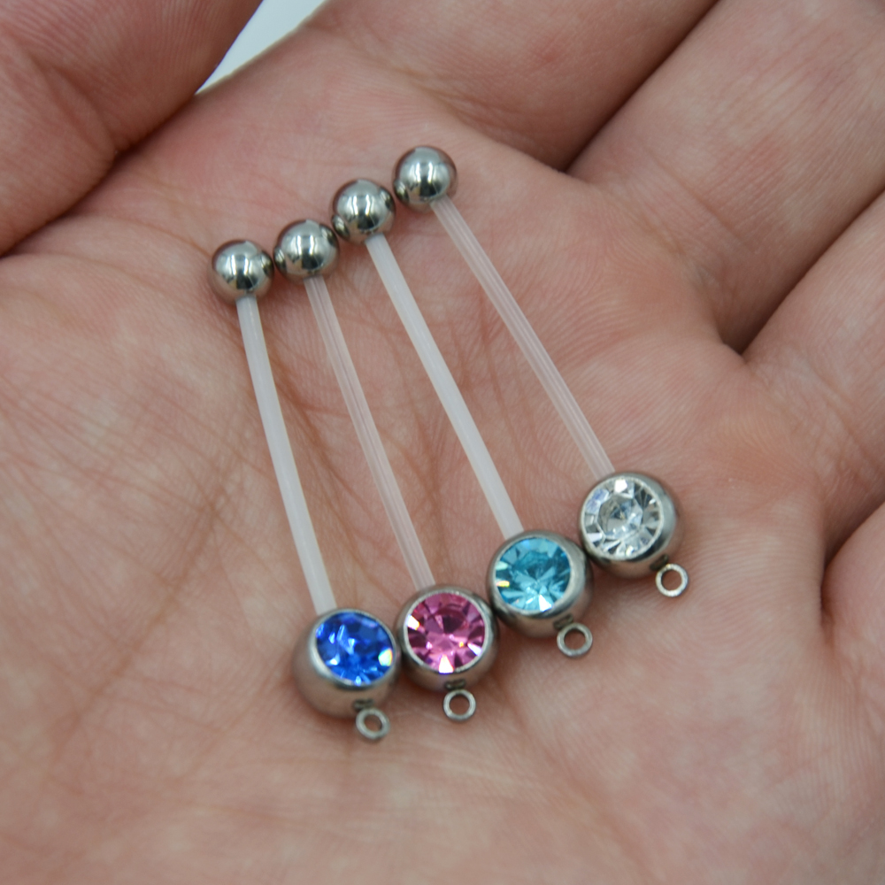 Us 8 05 20pieces Flexible Belly Button Ring Navel Bar Pregnancy Add Gem Flexi Maternity Charm Piercing Body Jewelry Sexy In Body Jewelry From