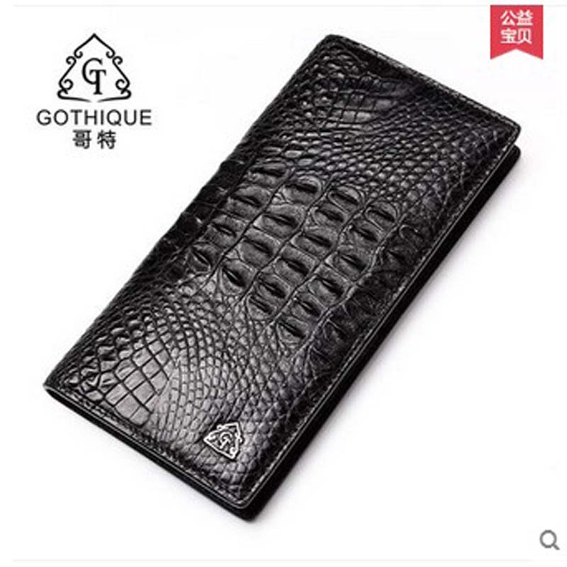 2018 gete  new hot free shipping Thai crocodile purse male business long hand bag fashion wallet Siamese crocodile men bag yuanyu 2018 new hot free shipping crocodile skin new lady long purse wallet tide crocodile hand caught bag women wallet