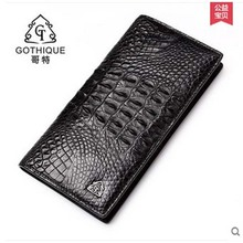 gete 2017 new hot free shipping Thai crocodile purse male business long hand bag fashion wallet Siamese crocodile men bag