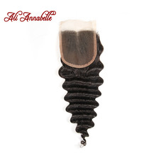 ALI ANNABELLE HAIR Brazilian Deep Wave Lace Closure Free Part Human Hair Closure Swiss Lace 120% Density 10″-20″ Natural Color
