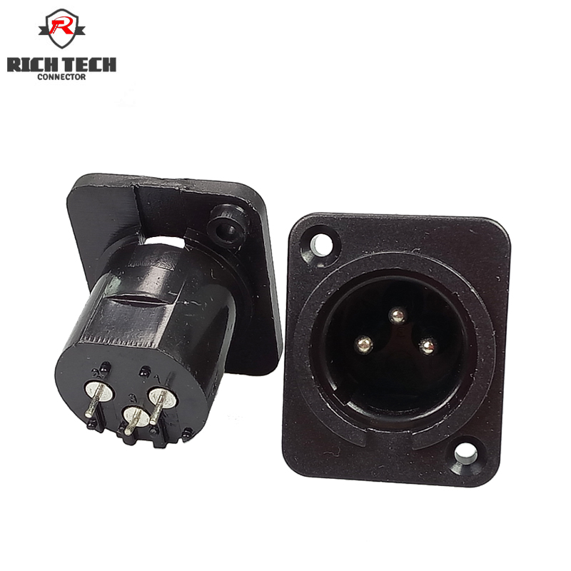 XLR Connector Male Plug 3Pin Panel Mounted Chassis Square Shape MIC Microphone Audio Connecting