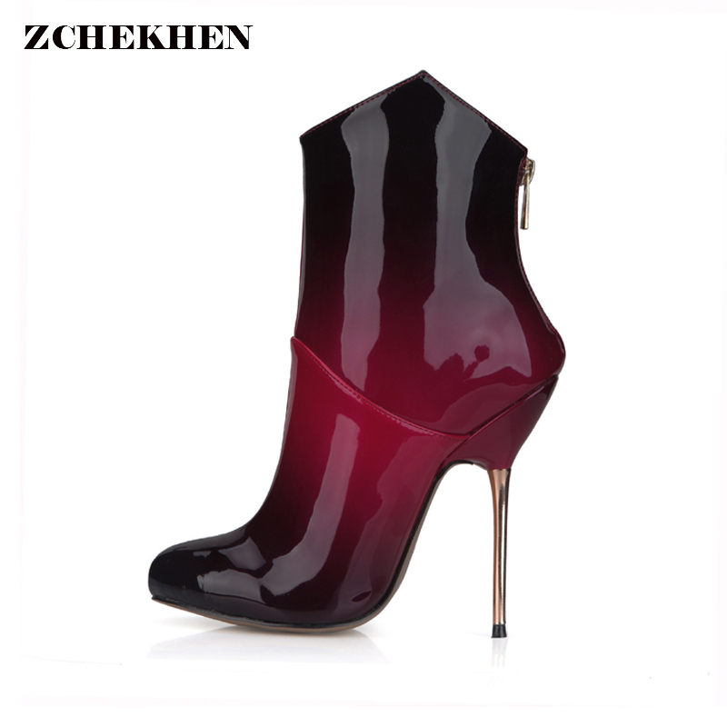 2018 Women red black Boots metal High Thin Heels Leather Shoes Woman party wedding Ankle Boots Pointed Toe Buckle zipp 3845bt-c5 lucyever fashion buckle crystals bling pumps women elegant thin high heels point toe party wedding shoes woman glod sliver black
