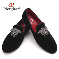 Fashion Men Loafers With Silver Face Buckle Handmade High Grade Party And Wedding Men Velvet Shoes